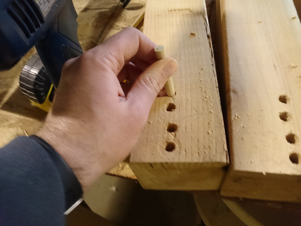 "Note how ""straight"" my dowel holes are. Had to make the holes in the connecting pieces just as ""straight""."