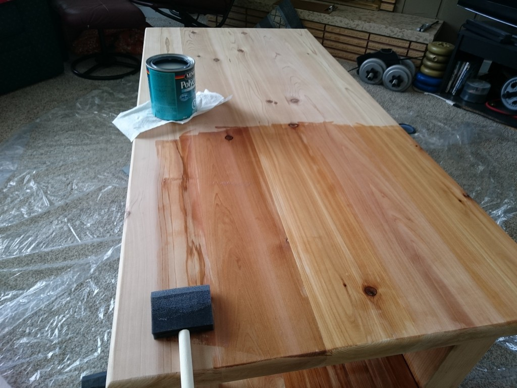 Adding the poly to the table top.