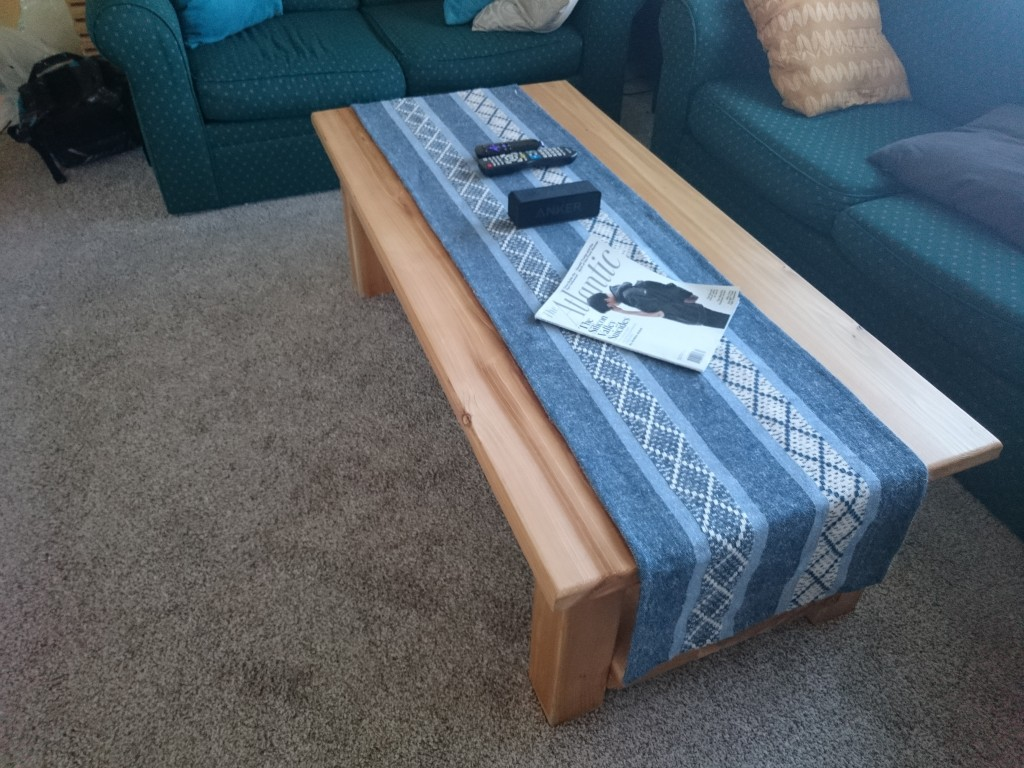 Threw a table runner on it, looks pretty good.
